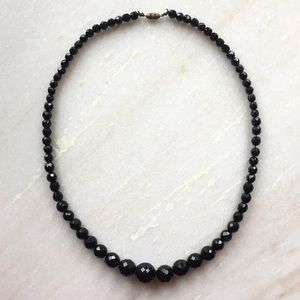 Vintage black faceted-bead necklace